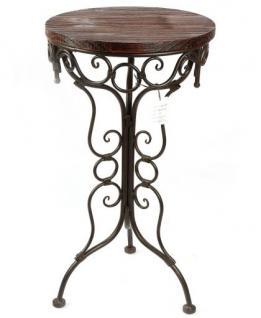 Tisch Beistelltisch 68cm aus Metall mit Holzplatte HX12588 Blumenständer