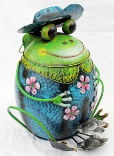 Abfalleimer Frosch mit Hut Blau BL61 Treteimer Mülleimer aus Metall 45cm Eimer
