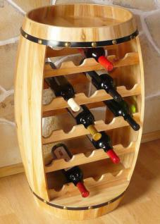Weinregal Weinfass Fass aus Holz H-81cm Nr.0370 Flaschenständer Regal Naturlack - Vorschau 4
