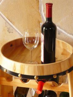 Weinregal Weinfass Fass aus Holz H-81cm Nr.0370 Flaschenständer Regal Naturlack - Vorschau 5