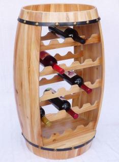 Weinregal Weinfass Fass aus Holz H-81cm Nr.0370 Flaschenständer Regal Naturlack - Vorschau 1