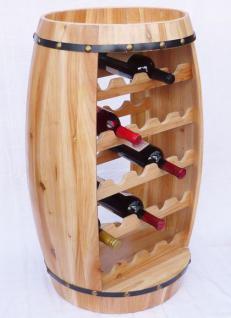 Weinregal Weinfass Fass aus Holz H-81cm Nr.0370 Flaschenständer Regal Naturlack - Vorschau 3