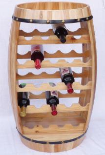Weinregal Weinfass Fass aus Holz H-81cm Nr.0370 Flaschenständer Regal Naturlack - Vorschau 2