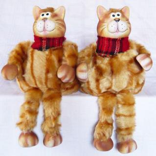 2 Katzen aus Keramik und Textil Katze sitzend 22cm 2er Set - Vorschau 3
