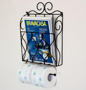 Zeitungs- Toilettenpapierhalter Schwarz Toilettenrollenhalter Zeitungsständer Wandregal 21212