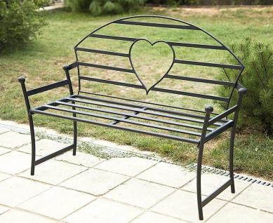 Gartenbank mit Herz aus Metall Schwarz Bank 122cm Sitzbank 80006 Baumbank Garten - Vorschau 3