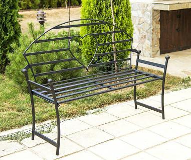Gartenbank mit Herz aus Metall Schwarz Bank 122cm Sitzbank 80006 Baumbank Garten - Vorschau 5
