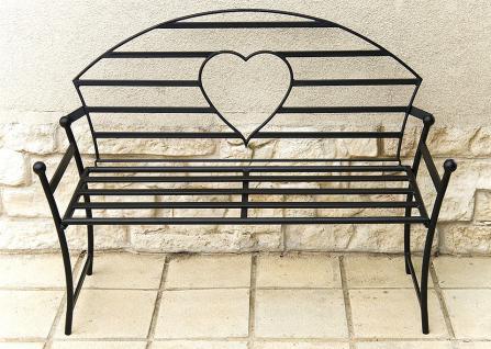 Gartenbank mit Herz aus Metall Schwarz Bank 122cm Sitzbank 80006 Baumbank Garten - Vorschau 2