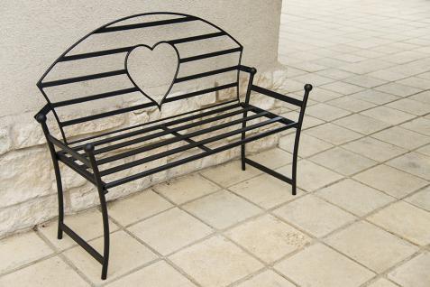 Gartenbank mit Herz aus Metall Schwarz Bank 122cm Sitzbank 80006 Baumbank Garten - Vorschau 4