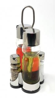 Menage Essig und Öl Spender Glas Salz Pfeffer Set Edelstahl 210 Silber Glas Ölspender