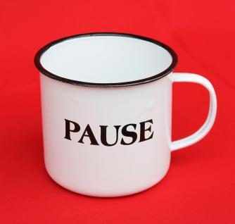 "Emaille Tasse 51220 "" Pause"" Becher emailliert 10 cm Kaffeebecher Kaffeetasse Teetasse - Vorschau 4"
