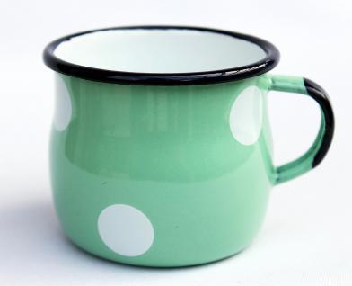 Emaille Tasse 501w/7 Hellgrün mit weißen Punkten Becher emailliert 7 cm Kaffeebecher Kaffeetasse - Vorschau 2