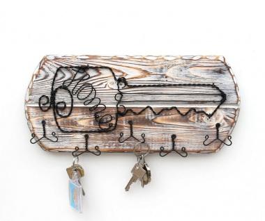 DanDiBo Schlüsselbrett Holz Schlüsselboard 93910 Schlüsselhaken handgemacht Handmade Bügel Holzschlüssel - Vorschau 5