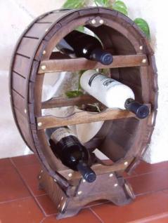 Weinregal Weinfass für 6 Flaschen Braun gebeizt