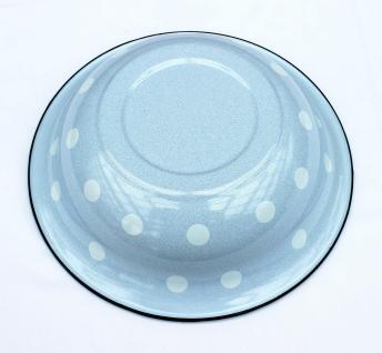 Schüssel 601/32 Hellblau mit weißen Punkten emailliert 32cm Teller Salatschüssel Emaille Waschschüssel - Vorschau 4