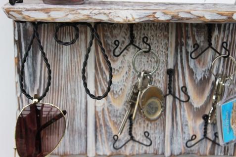 DanDiBo Wandorganizer Holz Weiß Vintage Schlüsselbrett mit Ablage 93909 Schlüsselboard Briefablage Schlüsselkasten Shabby Chic Memoboard Wandregal Schlüsselhaken - Vorschau 5