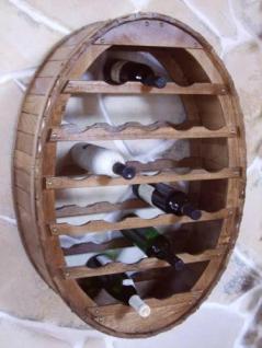 Weinregal Weinfass Wandregal zum aufhängen für 24 Flaschen Br