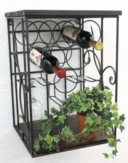 DanDiBo Weinregal Metall Wand mit Glashalter Holzablage HX12981 Flaschenregal 53 cm Flaschenhalter Wandmontage