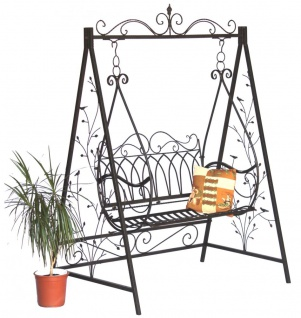 DanDiBo Hollywoodschaukel Metall 2 Sitzer Antik Vintage 1868 Schmiedeeisen Gartenschaukel Garten