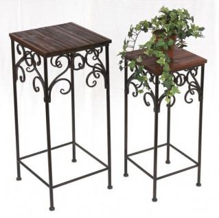 Blumenhocker 2er Set HX12591 Blumenständer 58, 68cm Eckig Blumensäule Tisch