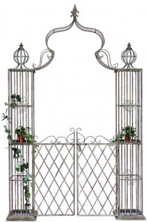 Rosenbogen mit Tor Pforte 110241 aus Metall Schmiedeeisen 274x172cm Gartentor