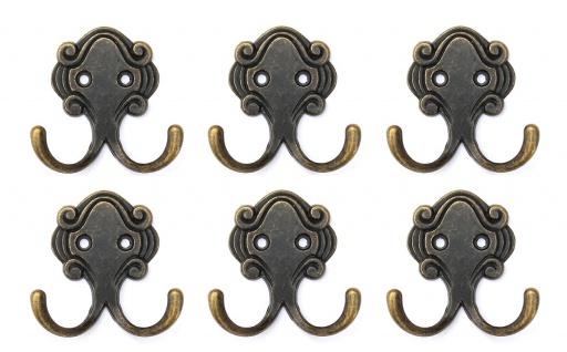 DanDiBo 6x Wandhaken Kleiderhaken 5, 2 cm aus Metall Messing Haken Garderobenhaken