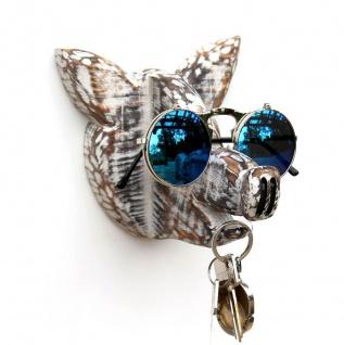 DanDiBo Brillenhalter Wand Brillenständer 1106 Schlüsselhalter Schwein handgemacht Kleiderhaken Holz