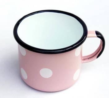 Emaille Tasse 501/10 Rosa mit weißen Punkten Becher emailliert 10 cm Kaffeebecher Kaffeetasse - Vorschau 4