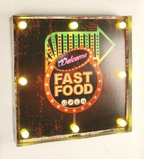Leuchtschild 237681 FAST FOOD Wandschild LED Schild aus Metall 40 cm Display - Vorschau 3