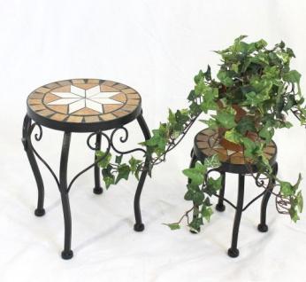 Blumenhocker Merano Mosaik 2er Set 12014 Blumenständer 20 und 27cm Hocker Rund - Vorschau 4