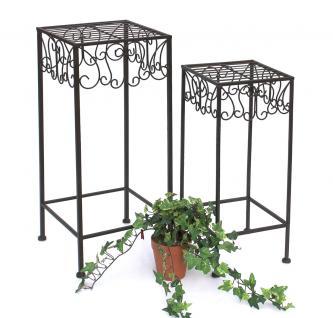 Blumenhocker 140127 2er Set Blumenständer 50 und 60 cm Pflanzenständer Hocker Beistelltisch Blumensäule