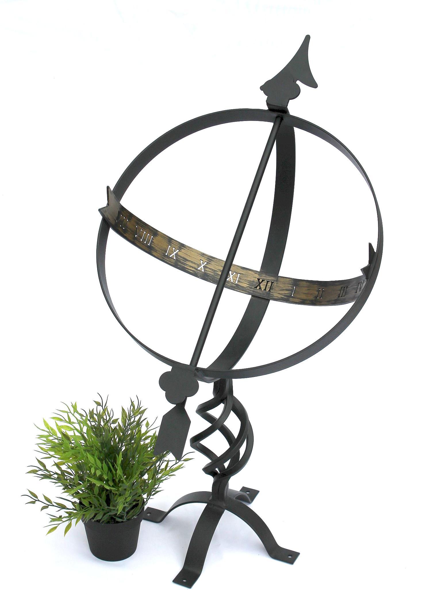 ... Sonnenuhr Schwarz Aus Metall Schmiedeeisen Wetterfest 72cm Gartenuhr  Uhr Gartendeko 2 ...