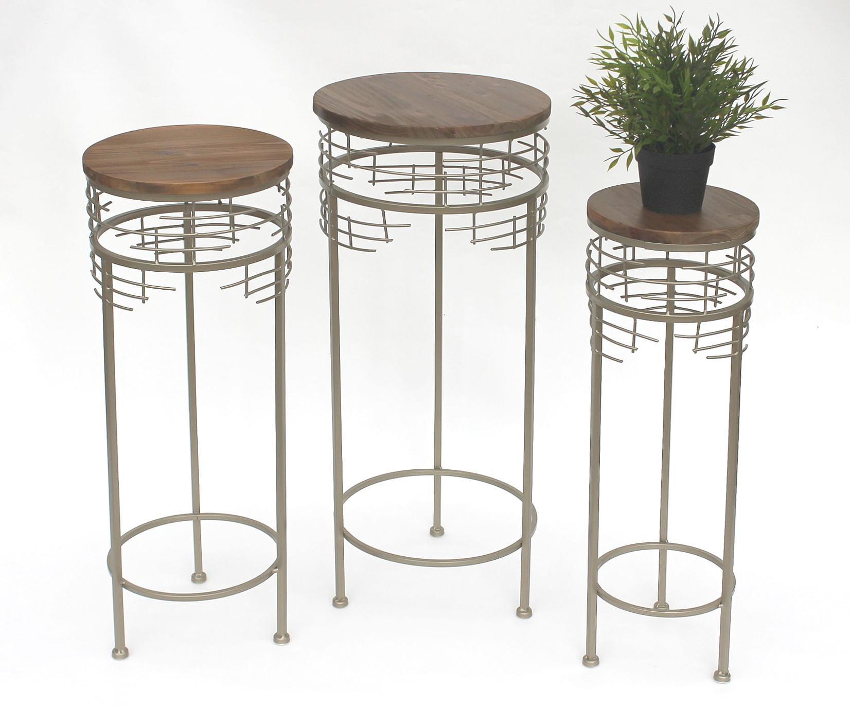 blumenhocker metall 21288 3er set blumenst nder rund beistelltisch modern kaufen bei dandibo. Black Bedroom Furniture Sets. Home Design Ideas