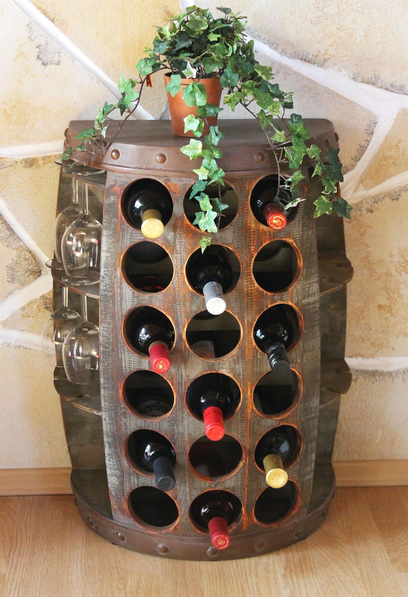 Weinregal Weinfass Nr.1486 Beistelltisch Schrank Fass aus Holz ...
