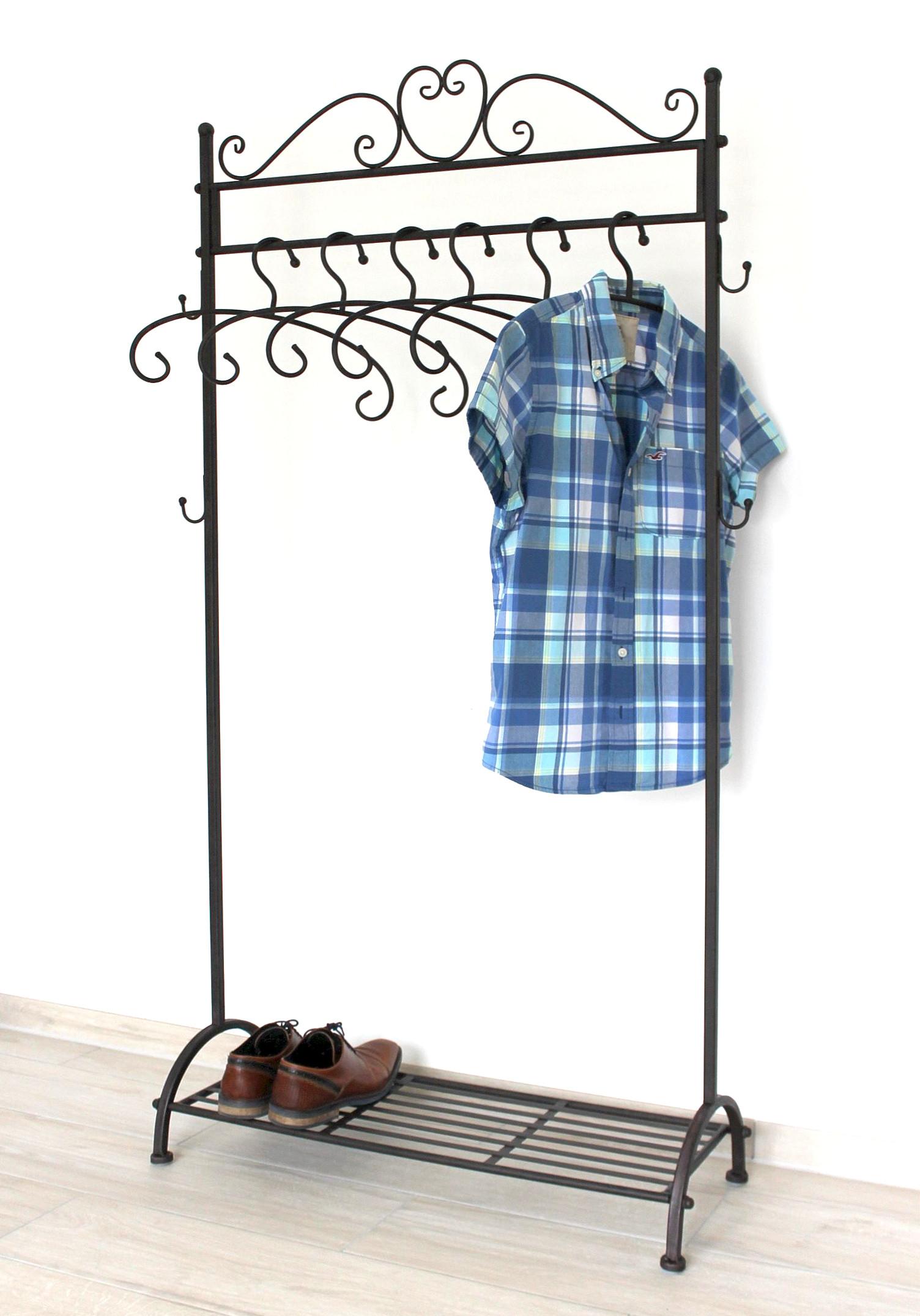 kleiderstange garderobenst nder garderobe mit 6 kleiderb geln ablage 95262 stabil. Black Bedroom Furniture Sets. Home Design Ideas