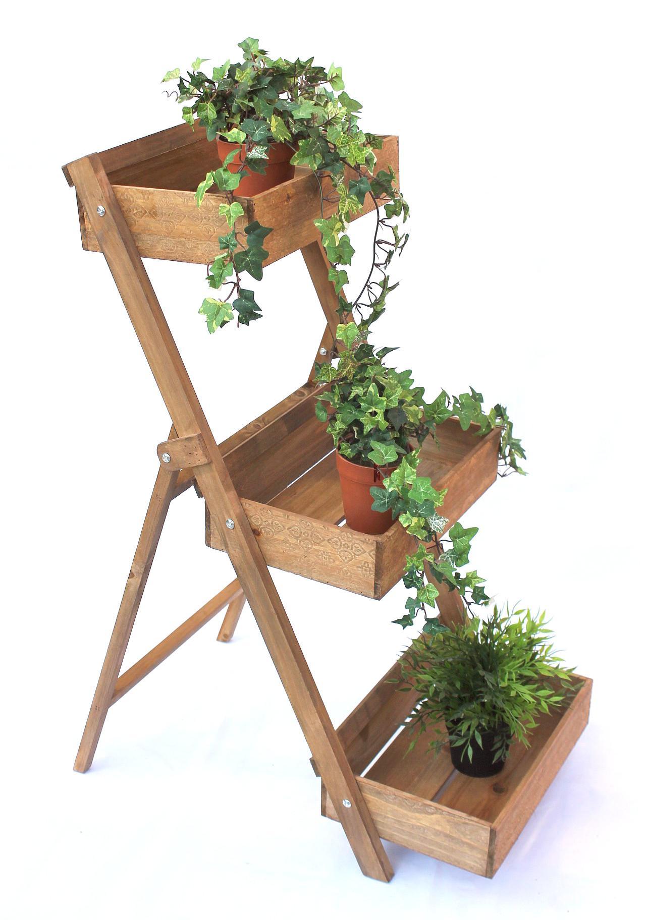 kräuterregal fiora-1 aus holz 90cm blumentreppe pflanzentreppe