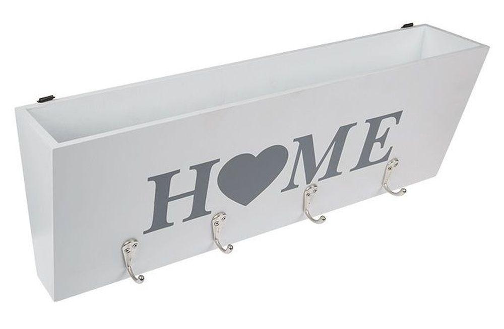 schl sselbrett mit ablage wei schl sselkasten holz 144218 home 4 haken fach vintage shabby chic. Black Bedroom Furniture Sets. Home Design Ideas