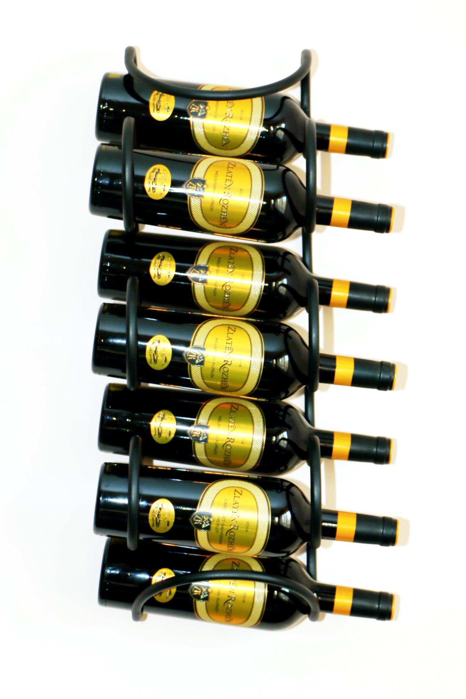 weinregal welle 58 cm aus metall f r 7 flaschen flaschenst nder wandregal flaschenhalter. Black Bedroom Furniture Sets. Home Design Ideas
