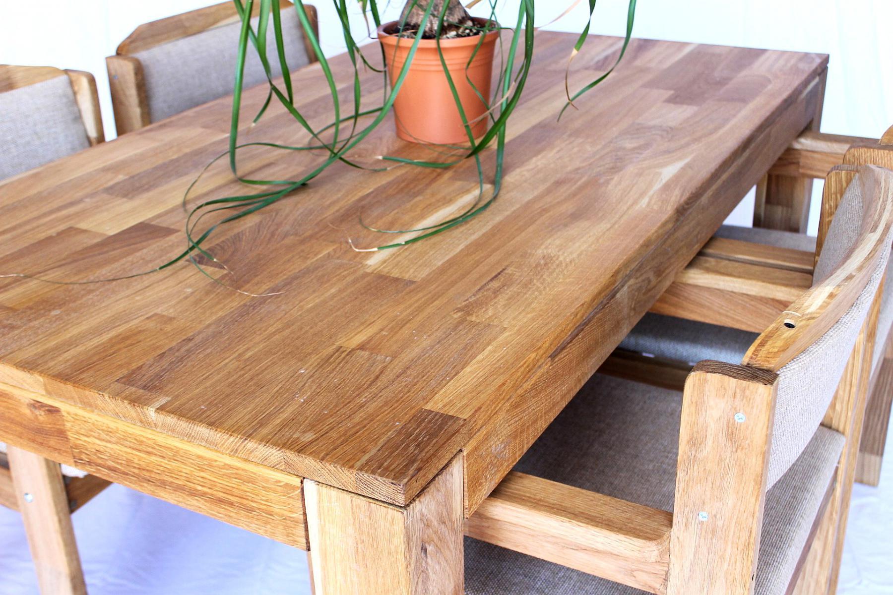 DanDiBo Sitzgruppe Esstisch 150 cm x 83 cm mit 4 Stühlen Eiche