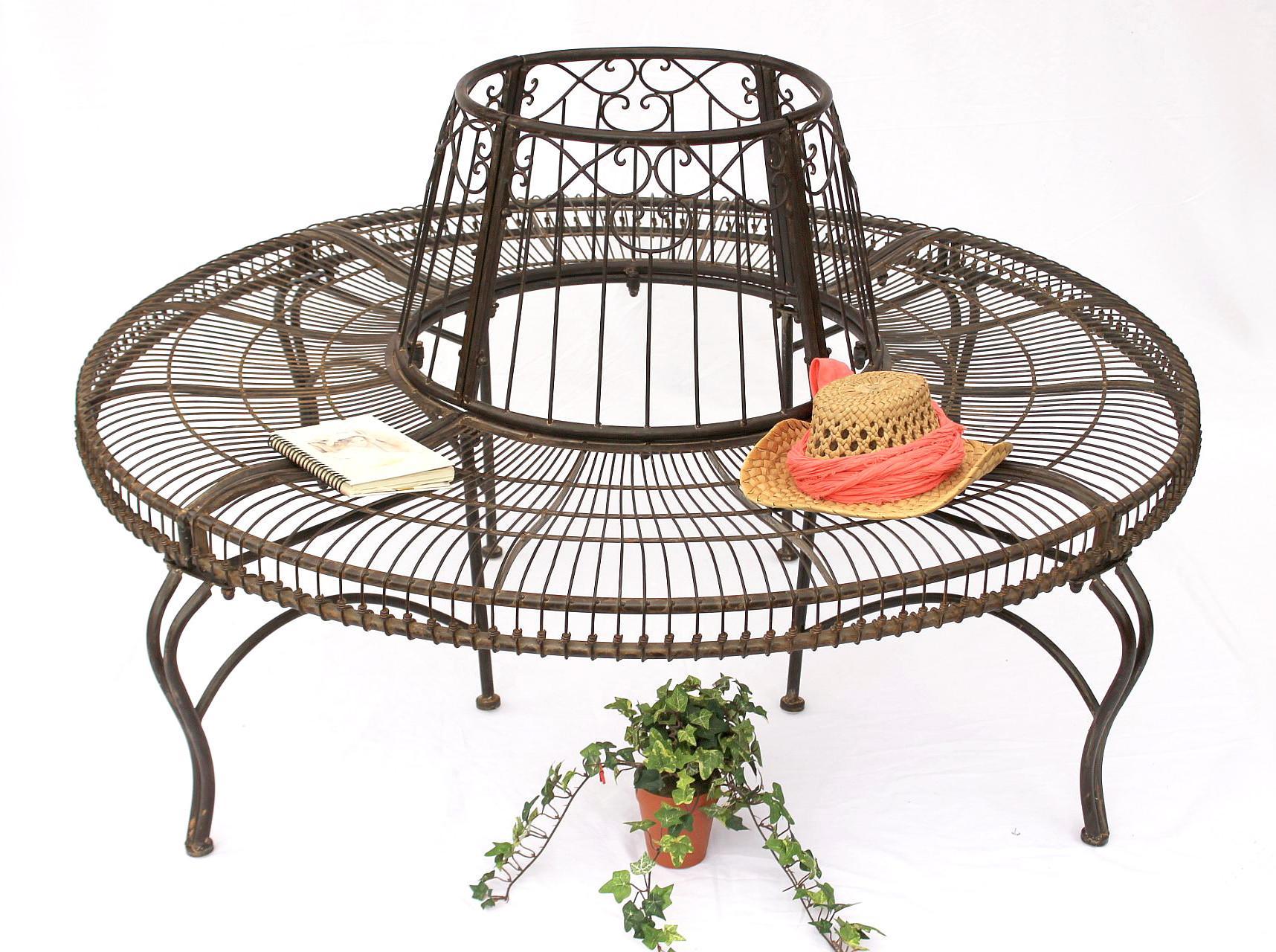 rundbank aus metall bank jc112404 baumbank sitzbank. Black Bedroom Furniture Sets. Home Design Ideas