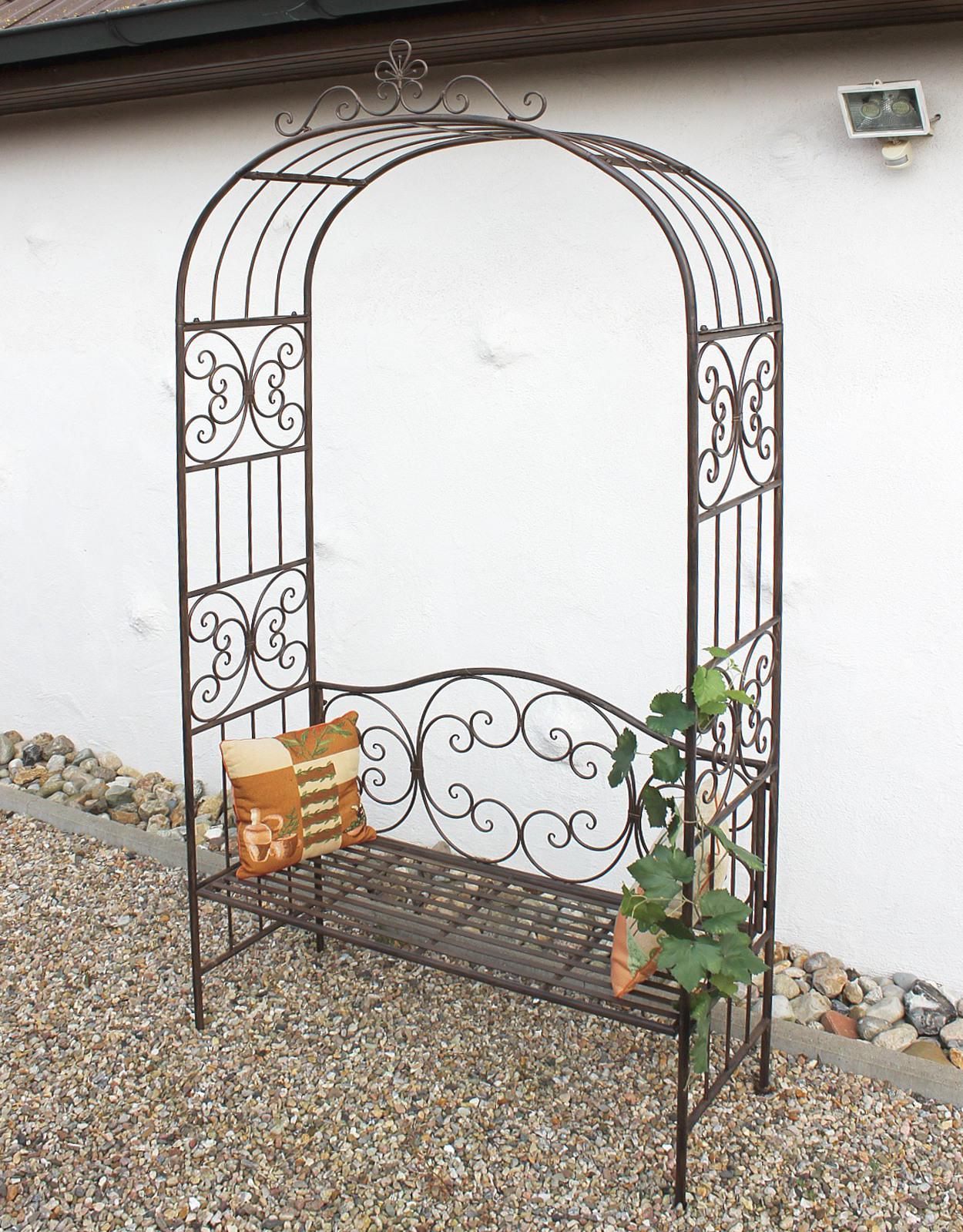 rosenbogen mit bank 120852 aus metall 250cm gartenbank. Black Bedroom Furniture Sets. Home Design Ideas