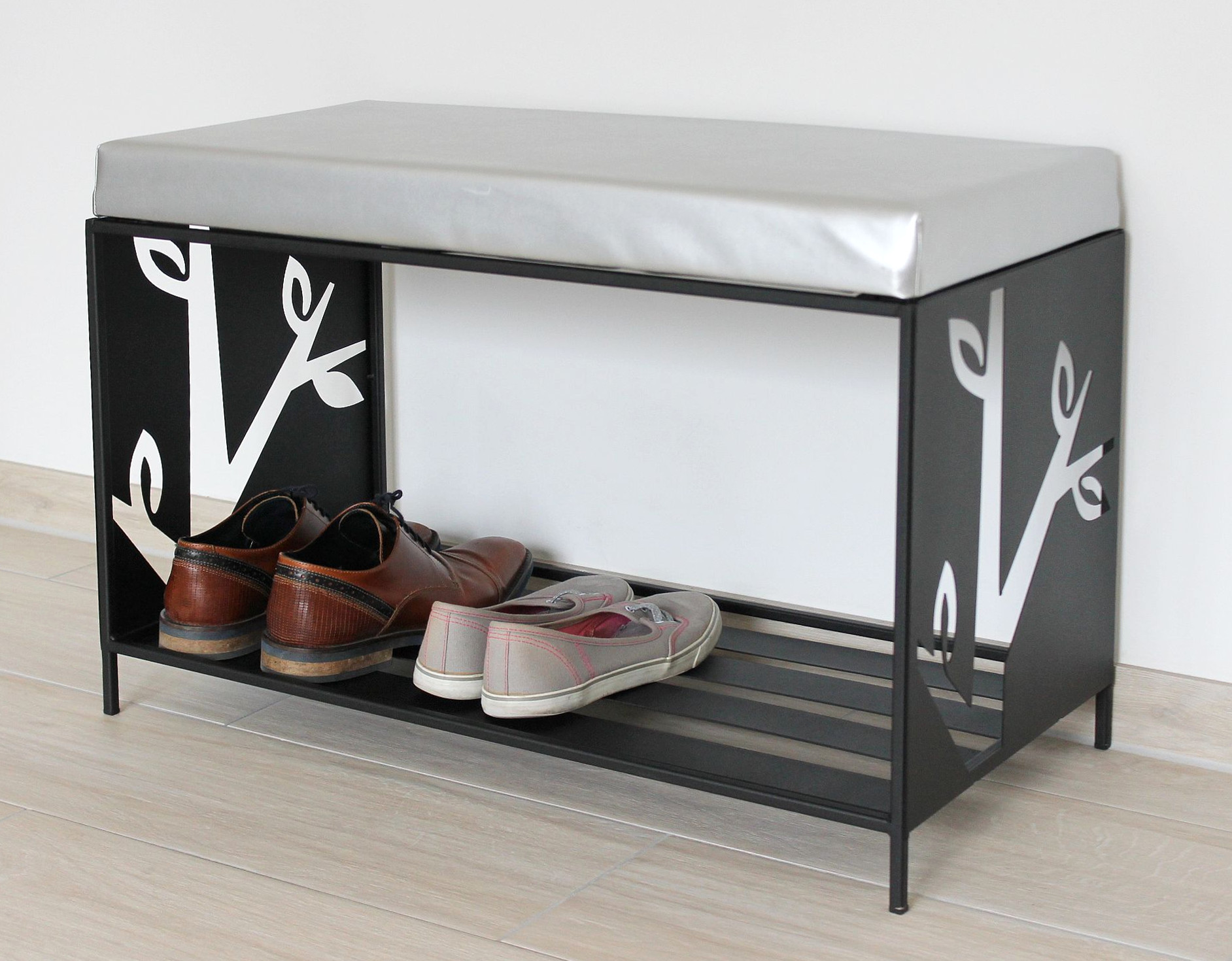 dandibo schuhregal mit sitzfl che metall schwarz 70 cm 10. Black Bedroom Furniture Sets. Home Design Ideas