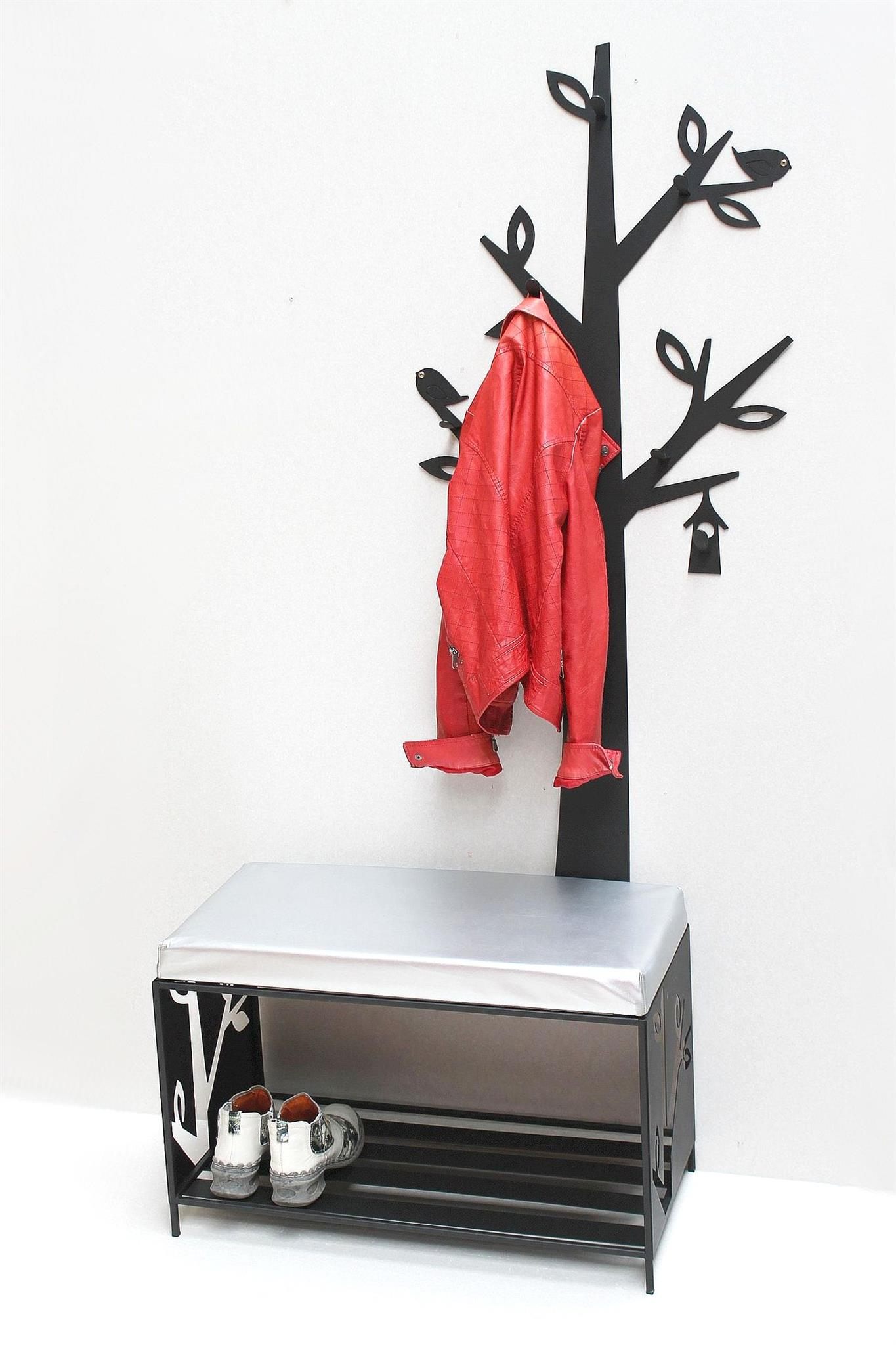 schuhregal mit sitzfläche wandgarderobe set baum metall schwarz