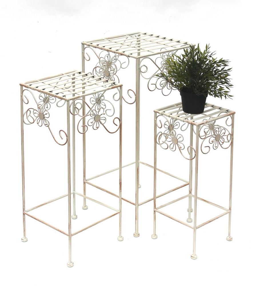 Blumenhocker Metall Weiß Creme Eckig 3er Set Blumenständer 20348  Beistelltisch Pflanzenständer Pflanzenhocker Vintage Shabby Chic