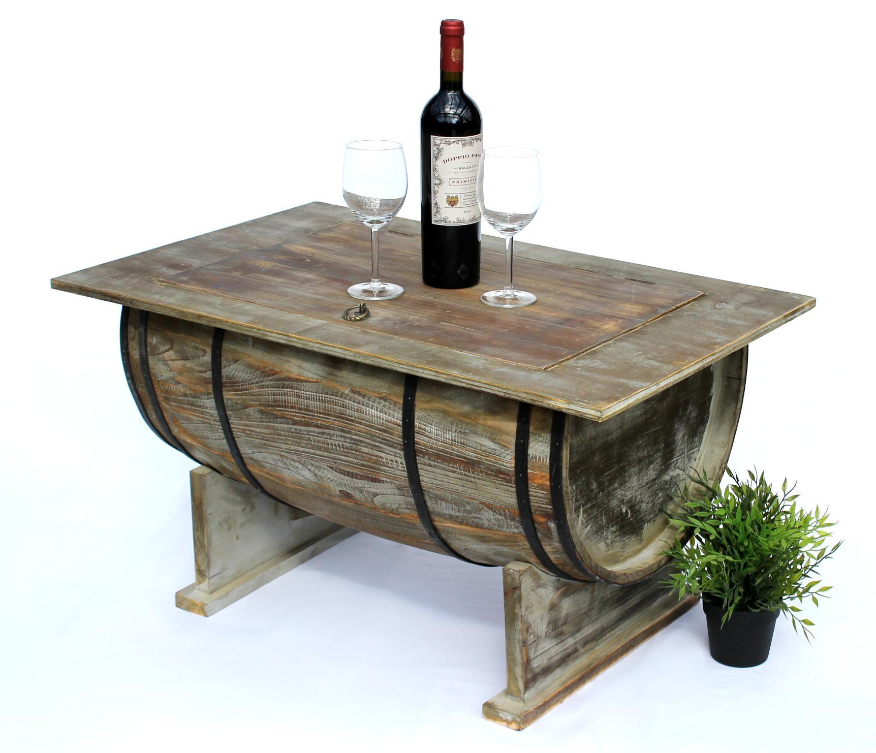 Entzückend Beistelltisch Holz Dekoration Von Tisch Weinfass 5084-h Couchtisch Aus 80 Cm