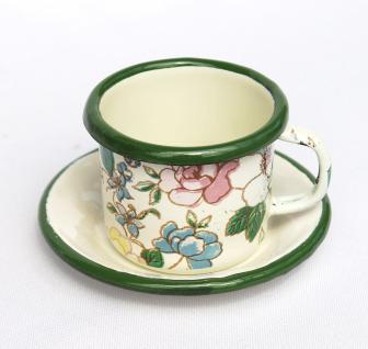 Emaille Tasse mit Untertase 11/61 Volldekor Becher emailliert 5cm Kaffeebecher Kaffeetasse