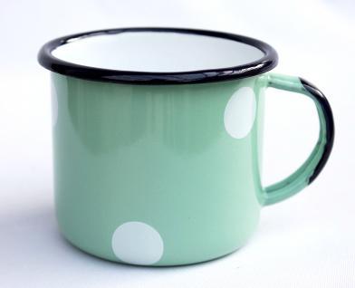 Emaille Tasse 501/8 Hellgrün mit weißen Punkten Becher emailliert 8 cm Kaffeebecher Kaffeetasse - Vorschau 2