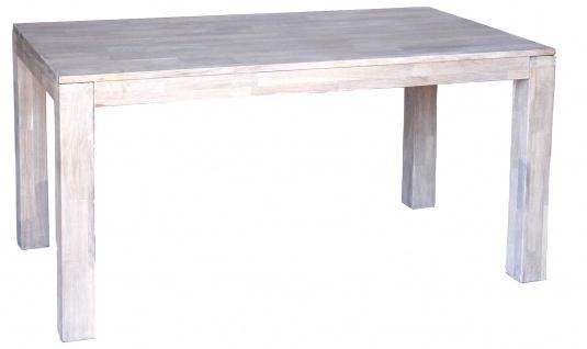 DanDiBo Esstisch Holz 150x80cm Eiche Weiß Hell Massiv Küchentisch Tisch Esszimmertisch