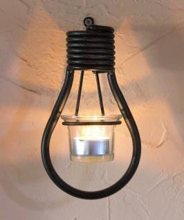 Wandteelichthalter Glühlampe 19 cm Teelichthalter aus Metall Wandleuchter Kerzenhalter Glühbirne
