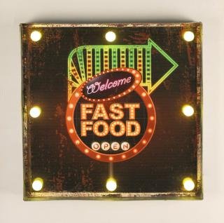 Leuchtschild 237681 FAST FOOD Wandschild LED Schild aus Metall 40 cm Display Hängeschild